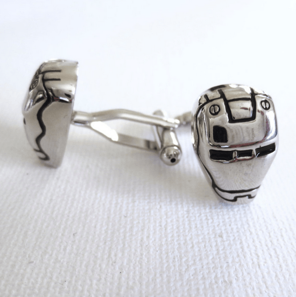 Ironman Cufflinks Cuff Links Superhero Marvel Wedding Groom Groomsmen Fathers Day Gift From Son From Daughter - MarkandMetal.com