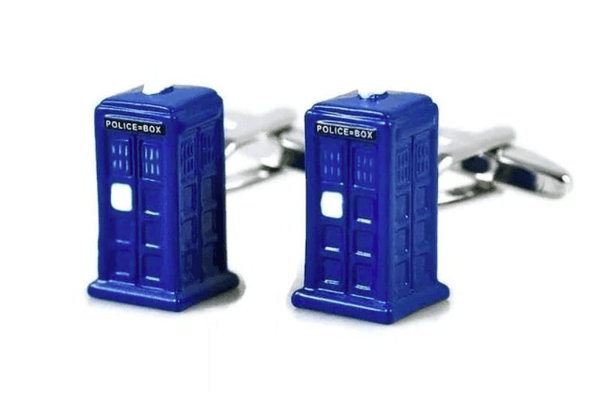 Dr Doctor Who Cufflinks Police Phone Box TARDIS - Groomsmen Groom Wedding Gift For Him