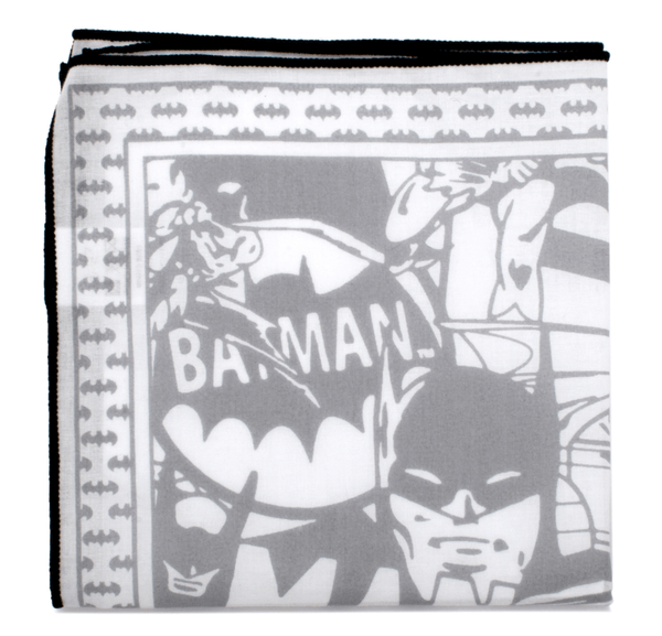 Batman Cotton Pocket Square with Black Trim - MarkandMetal.com