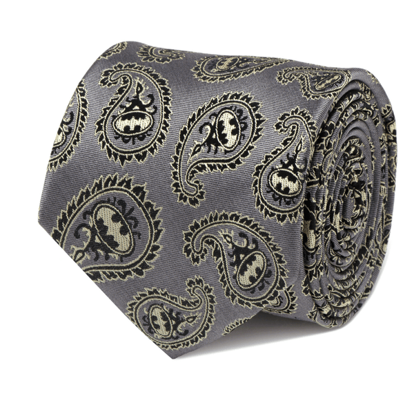 Batman Gray and Yellow Paisley Tie BY DC COMICS - MarkandMetal.com