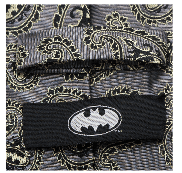 Batman Gray and Yellow Paisley Tie BY DC COMICS - Groomsmen Groom Wedding Gift For Him
