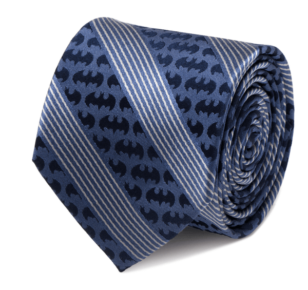 Batman Pinstripe Navy Tie BY DC COMICS - Groomsmen Groom Wedding Gift For Him