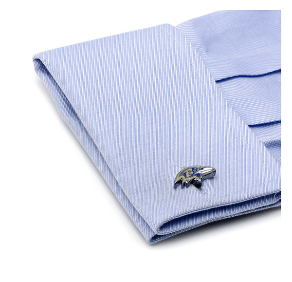 Baltimore Ravens Head Football Cufflinks BY NFL - Groomsmen Groom Wedding Gift For Him
