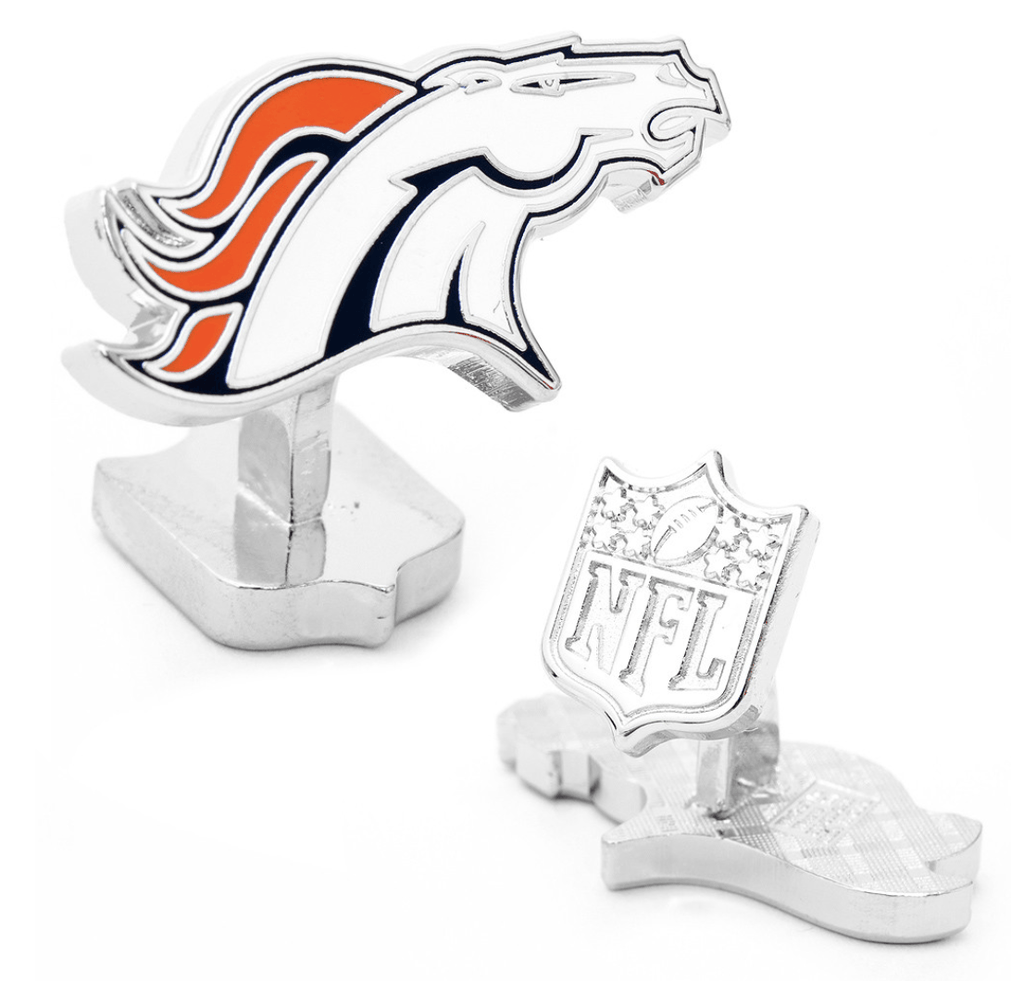 Denver Broncos Palladium Football Cufflinks BY NFL - Men's Accessories and gifts for him