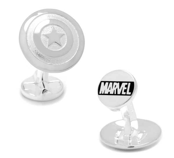 Captain America Shield Sterling Silver 3D Cufflinks - Groomsmen Groom Wedding Gift For Him