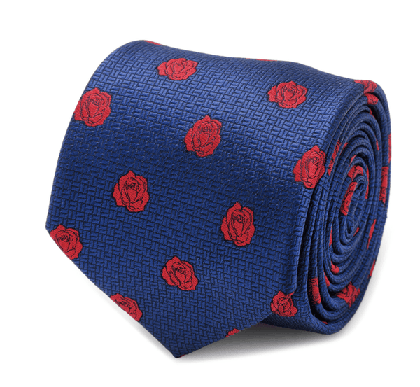 Beauty and the Beast Blue and Red Rose Men's Tie BY DISNEY - MarkandMetal.com