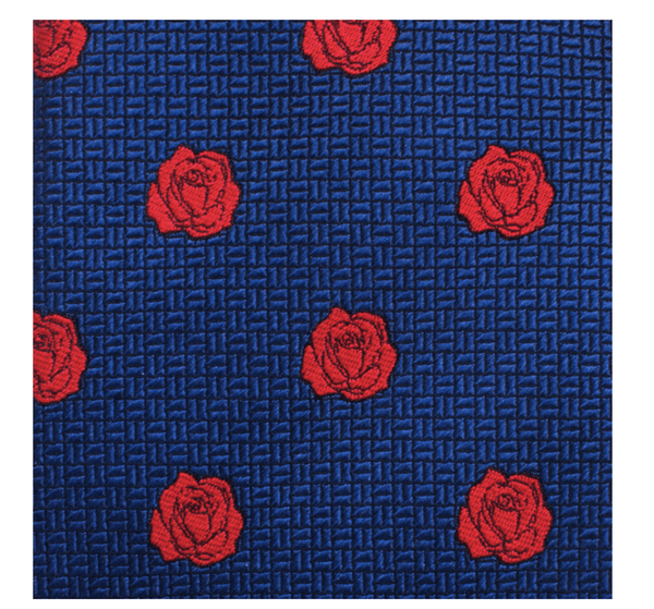 Beauty and the Beast Blue and Red Rose Men's Tie BY DISNEY - Groomsmen Groom Wedding Gift For Him