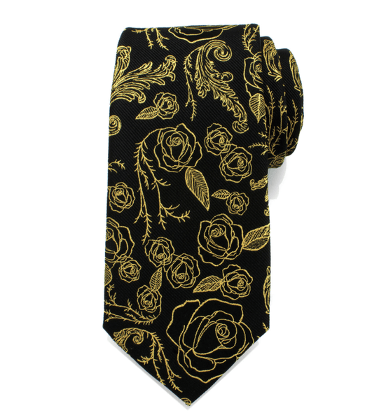 Beauty and the Beast Floral Rose Black Men's Tie BY DISNEY - MarkandMetal.com