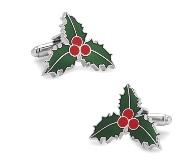 Christmas Holly Mistletoe Holiday Cufflinks - MarkandMetal.com