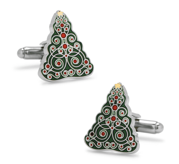 Christmas Fancy Tree Holiday Cufflinks - Groomsmen Groom Wedding Gift For Him