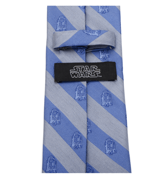 R2D2 Blue and Grey Stripe Men's Tie BY STAR WARS - MarkandMetal.com