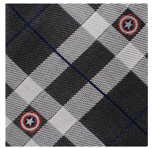 Captain America Gray Plaid Tie BY MARVEL - Groomsmen Groom Wedding Gift For Him