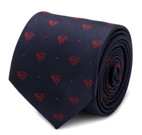 Superman Shield Navy and Red Dot Tie BY DC COMICS - MarkandMetal.com