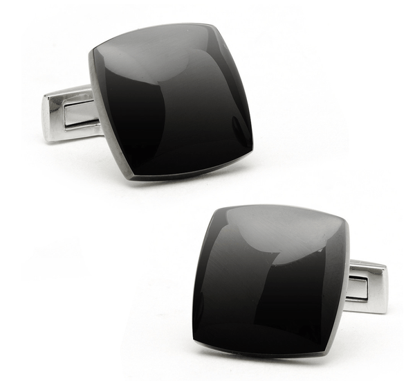 Classic Black Curved Square Cufflinks - MarkandMetal.com