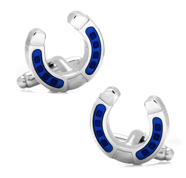 Blue Horseshoe Cufflinks - MarkandMetal.com