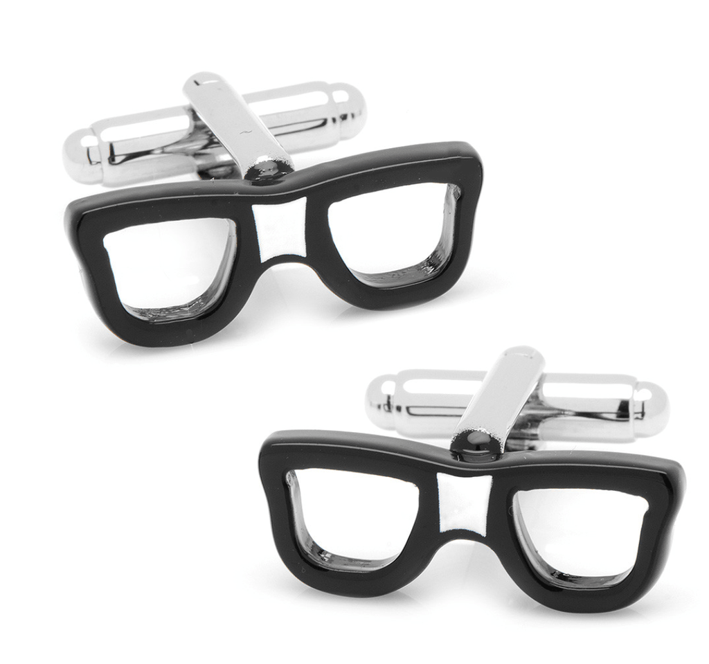 Cool Cut Taped Black Glasses Cufflinks - Groomsmen Groom Wedding Gift For Him