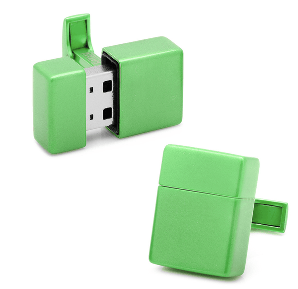 Green 8GB USB Flash Drive Cufflinks - MarkandMetal.com