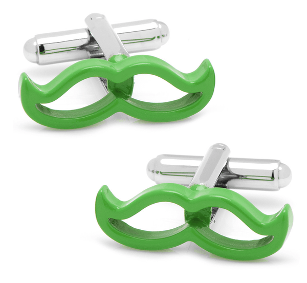 Cool Cut Green Moustache Cufflinks - MarkandMetal.com