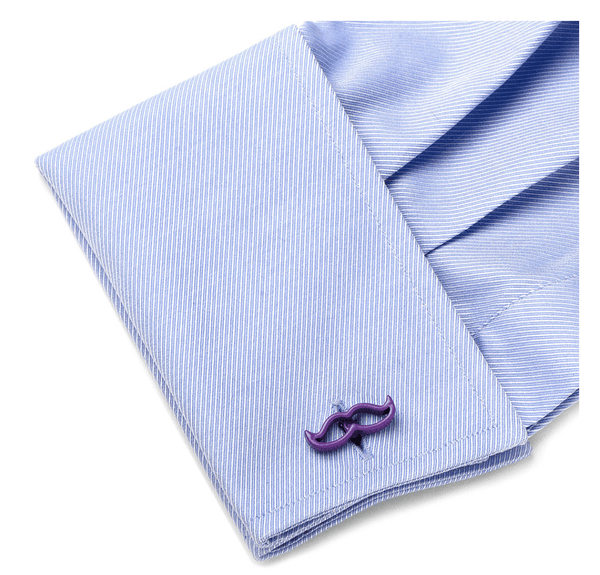 Cool Cut Purple Moustache Cufflinks - MarkandMetal.com