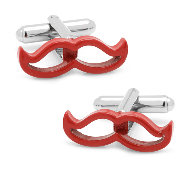 Cool Cut Red Moustache Cufflinks - Groomsmen Groom Wedding Gift For Him
