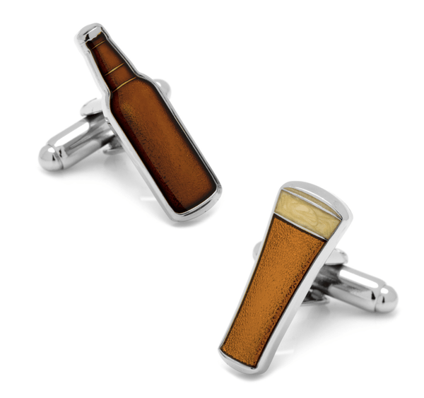 Beer and Bottle Cufflinks - MarkandMetal.com