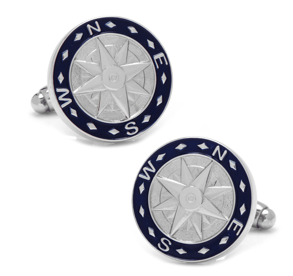 Blue Compass Cufflinks - MarkandMetal.com