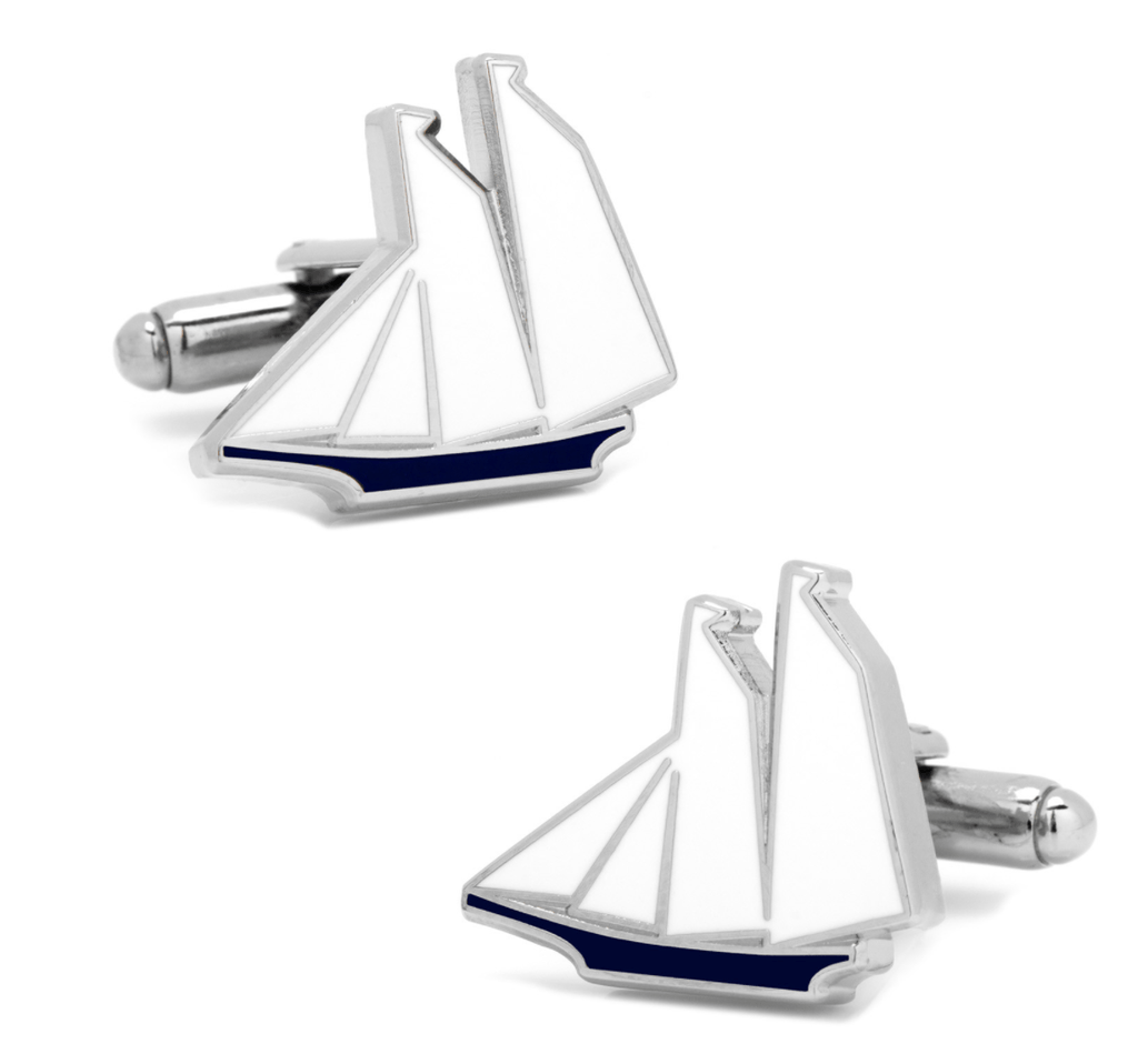 Blue and White Sailboat Cufflinks - MarkandMetal.com