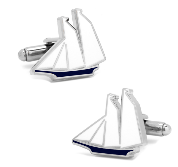 Blue and White Sailboat Cufflinks - Men's Accessories and gifts for him