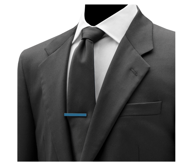 Blue Grey Stainless Steel Tie Clip - Groomsmen Groom Wedding Gift For Him