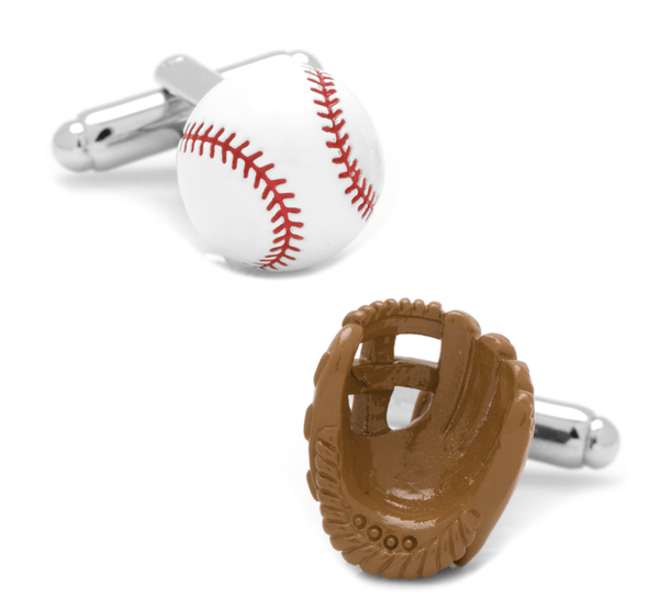 3D Baseball and Glove Enamel Cufflinks - Groomsmen Groom Wedding Gift For Him