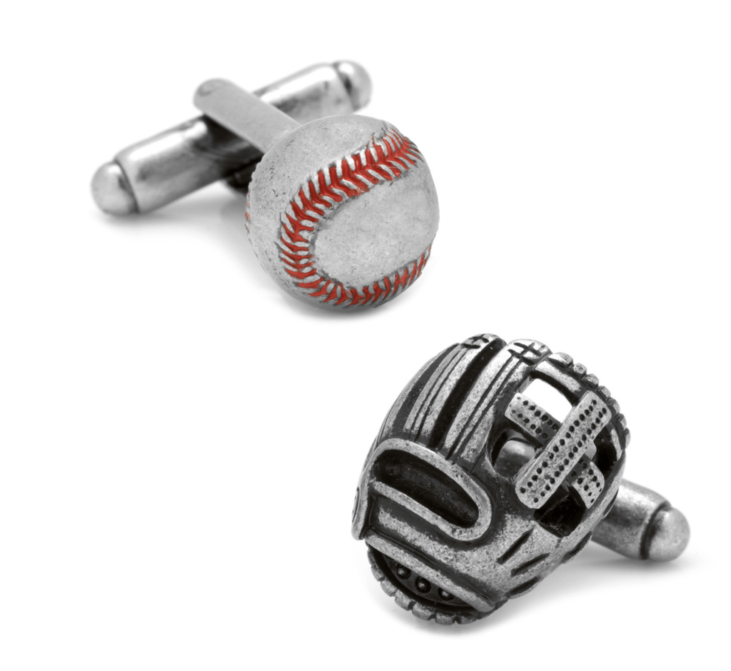 Baseball and Glove Antique Silver Cufflinks - Groomsmen Groom Wedding Gift For Him