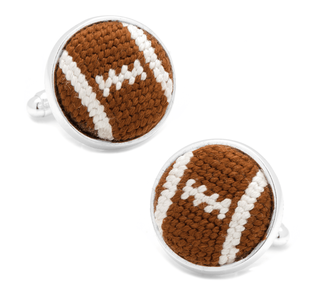 Football Needlepoint Cufflinks - MarkandMetal.com