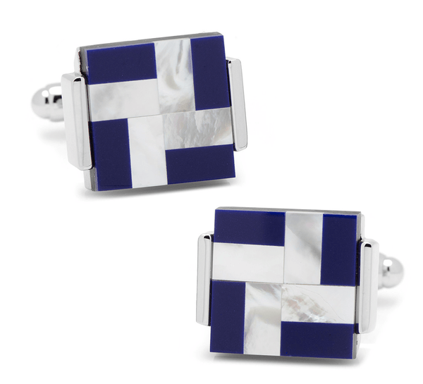 Mother of Pearl and Lapis Blue Windmill Square Cufflinks - MarkandMetal.com