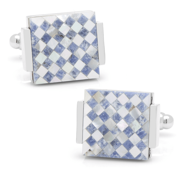 Floating Mother of Pearl Checkered Cufflinks - Groomsmen Groom Wedding Gift For Him