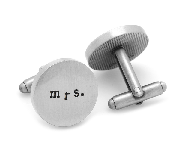 Antique Silver Mrs. and Mrs. Cufflinks - Groomsmen Groom Wedding Gift For Him