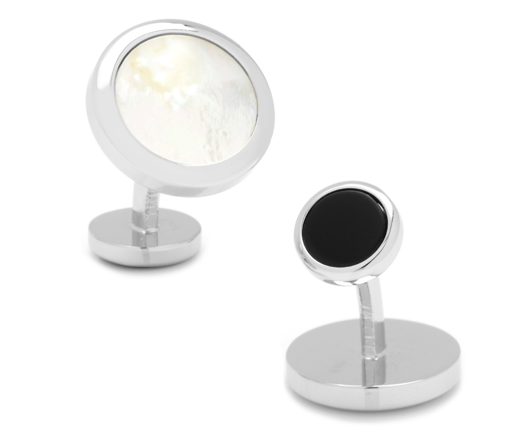 Double Sided Mother of Pearl Round Beveled Cufflinks - MarkandMetal.com