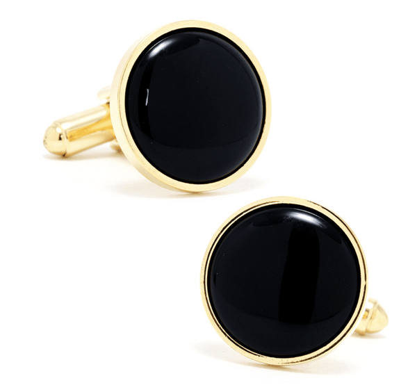 Gold and Onyx Cufflinks - Groomsmen Groom Wedding Gift For Him