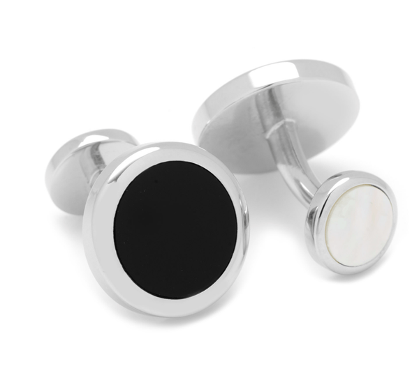 Double Sided Onyx Round Beveled Cufflinks - Groomsmen Groom Wedding Gift For Him