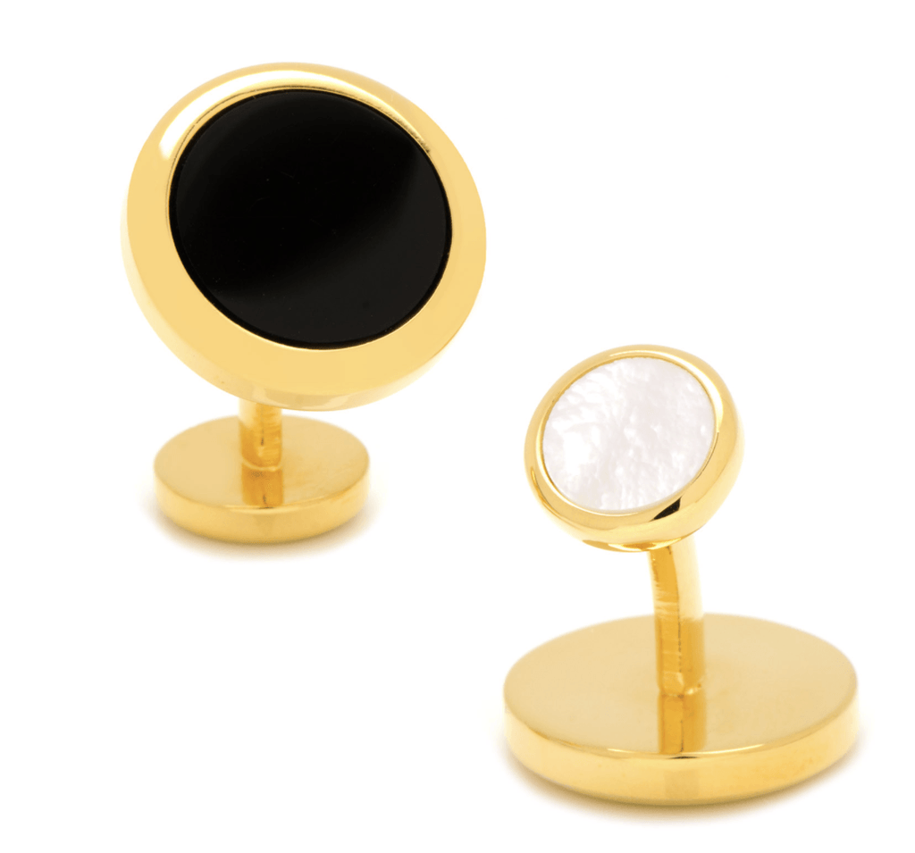 Double Sided Gold Onyx Round Beveled Cufflinks - Groomsmen Groom Wedding Gift For Him