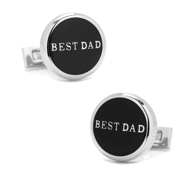 Best Dad Black Stainless Steel Cufflinks - MarkandMetal.com