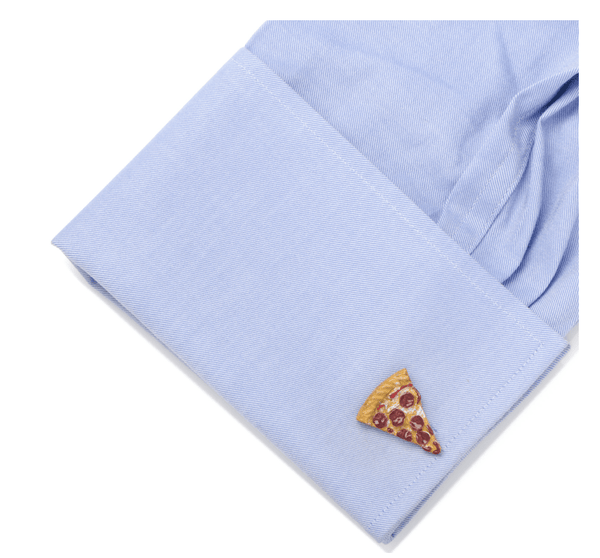 3D Pizza Slice Chef Cufflinks - Groomsmen Groom Wedding Gift For Him