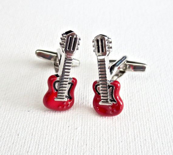 Gibson Guitar Musician Cufflinks - Groomsmen Groom Wedding Gift For Him