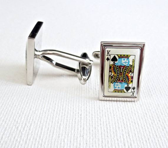 Poker Player Cards Cufflinks - MarkandMetal.com
