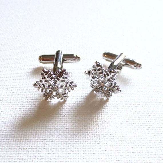 Snow Flakes Holiday Cufflinks - MarkandMetal.com