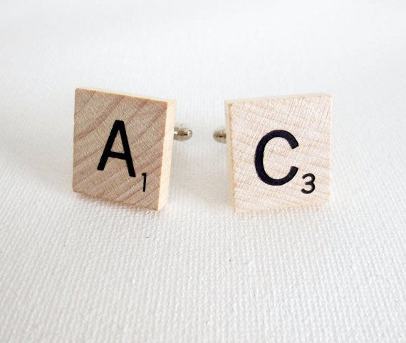 Scrabble Wood Tile Game Cufflinks Anniversary Gift - MarkandMetal.com