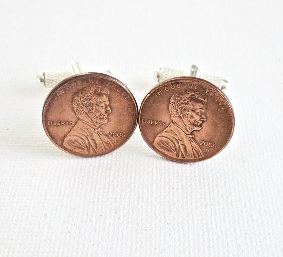2000s Penny Coin Cufflinks - Groomsmen Groom Wedding Gift For Him