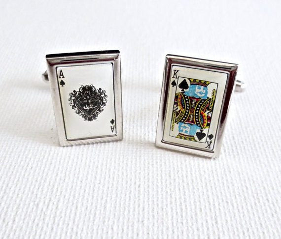 Ace King Cufflinks Spades Cards Poker Playing Las Vegas Wedding Groom Groomsmen Gift - MarkandMetal.com