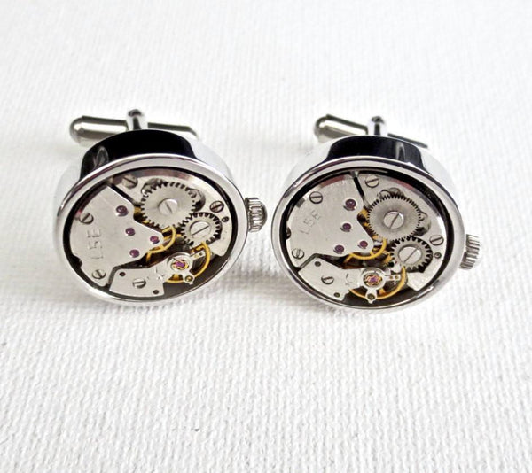 Steampunk Working Watch Cufflinks - MarkandMetal.com