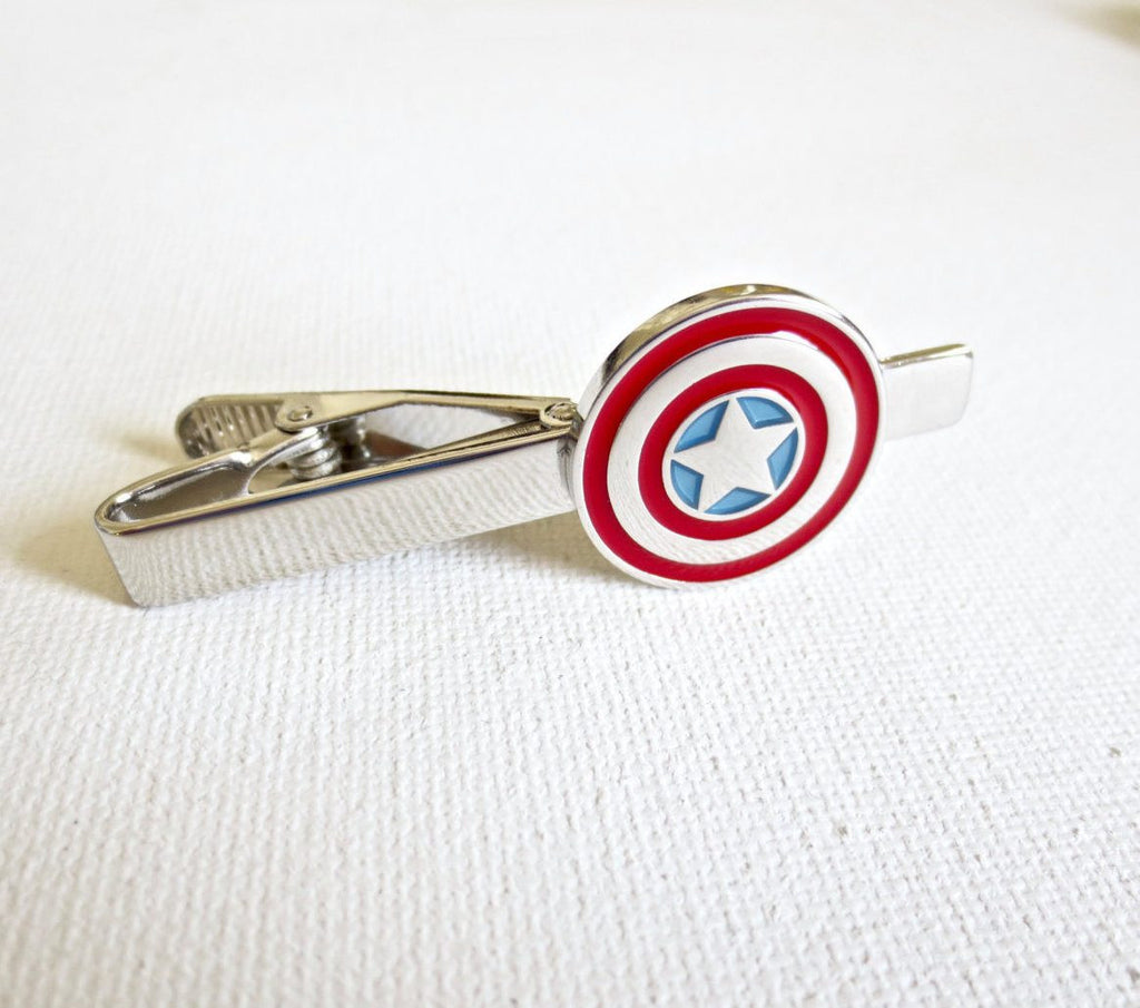 Captain America Tie Clips - Groomsmen Groom Wedding Gift For Him