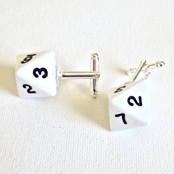 Dungeon and Dragons D8 Dice Cufflinks - Groomsmen Groom Wedding Gift For Him